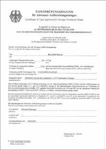 IMO certificate for sewage treatmen plant
